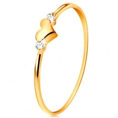 Gyűrű sárga 14K aranyból - két átlátszó cirkónia és fényes kidomborodó szív