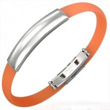 Egyszerű kaucsuk karperec, acéltábla, narancsszínű
