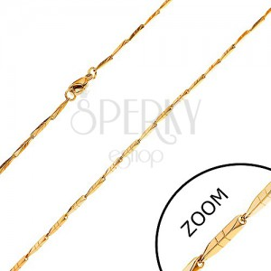 Acél lánc arany színben - keskeny szögletes elemek bemetszésekkel, 1,5 mm