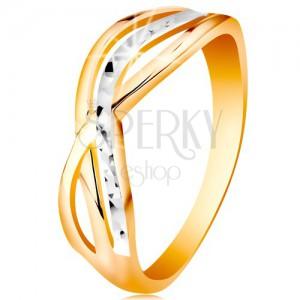 Kétszínű gyűrű 14K aranyból - hullámos és osztott szárak, bemetszések