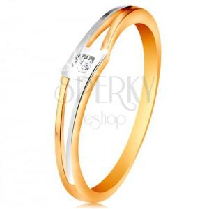 Gyűrű 14K aranyból - kerek átlátszó cirkónia rombuszban, kétszínű osztott szárak