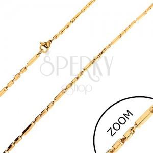 Lánc 316L acélból arany színben, hosszabb és rövidebb szögletes elemek, 2 mm