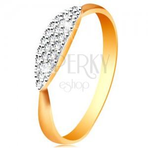 Gyűrű kombinált 14K aranyból - kidomborodó ovális beültetett átlátszó cirkóniákkal