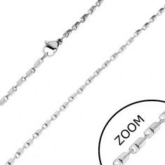 Acél lánc ezüst árnyalatban - fényes lemetszett hasábok, 2 mm
