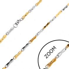 Lánc sebészeti acélból, kétszínű hasábok szűkített középső résszel, 3 mm