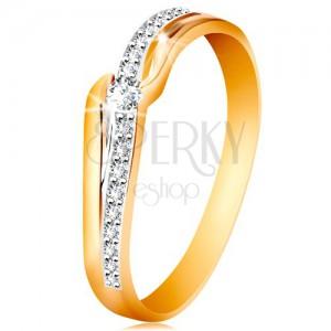 Csillogó 585 arany gyűrű - átlátszó cirkónia a szárvégek között, cirkóniás hullám