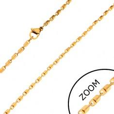 Acél lánc arany színben - fényes lemetszett szögletes elemek, 2 mm