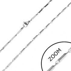 Acél lánc ezüst árnyalatban - keskeny szögletes elemek bemetszésekkel, 2 mm