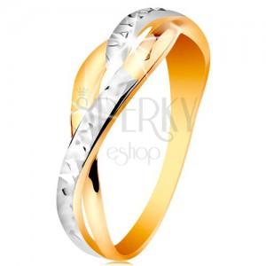 Kétszínű gyűrű 14K aranyból - osztott és hullámos szárak, csillogó bemetszések