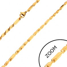 Lánc sebészeti acélból, arany árnyalat, hosszabb és rövidebb szögletes elemek, 3 mm