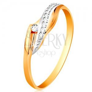 14K arany gyűrű - fényes hullámos szárak, csillogó átlátszó hullám és cirkónia