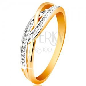 Gyűrű 14K aranyból - fonott osztott szárak, kerek átlátszó cirkóniák