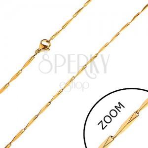 Lánc 316L acélból, lemetszett szögletes elemek arany színben, 1,5 mm
