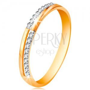 Gyűrű 585 aranyból - keskeny vonalak átlátszó csillogó cirkóniákból, fényes szárak