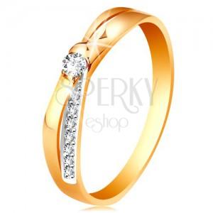 Gyűrű 14K aranyból - kettéosztott egymást keresztező szárak, kerek átlátszó cirkóniák
