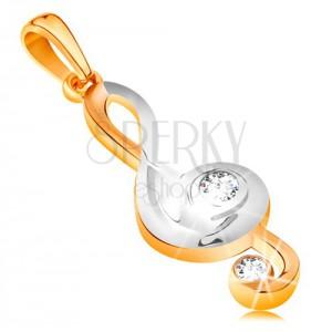Kétszínű medál 585 aranyból - fényes violinkulcs cirkóniákkal díszítve