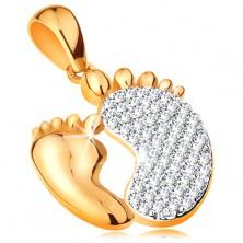 Medál 14K aranyból - két talp - egy kisebb sima és egy nagyobb cirkóniás