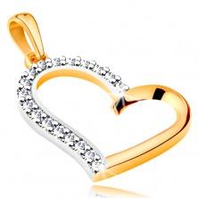 Medál 14K aranyból - aszimmetrikus szív körvonala cirkóniás féllel