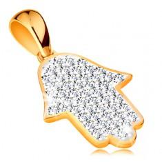 585 arany medál - Hamsa szimbólum csillogó átlátszó cirkóniákkal kirakva