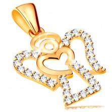 Medál sárga 14K aranyból - cirkóniás angyal körvonala, fényes szív