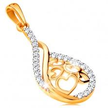 14K arany medál - csepp szívekkel középen, átlátszó cirkóniás vonalak