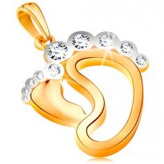 Medál 585 aranyból - kis láb, nagyobb talp körvonala, cirkóniás ujjak