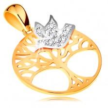 Kétszínű medál 585 aranyból - életfa körben, átlátszó cirkóniás madár