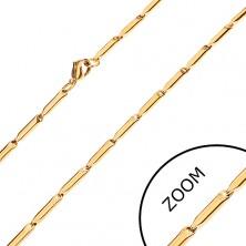 Acél lánc arany árnyalatban, fényes hosszúkás hengerek, 3 mm