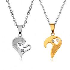 Nyaklánc szett 316L acélból szerelmeseknek, szív alakú medál, átlátszó cirkóniák