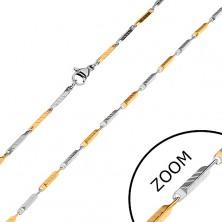 Kétszínű lánc sebészeti acélból, keskeny lemetszett hasábok bemetszésekkel, 2 mm