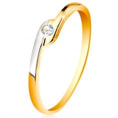 14K arany gyűrű - kerek átlátszó cirkónia, kétszínű meghosszabbított szárvégek