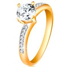 Gyűrű 14K aranyból - csillogó kerek cirkónia átlátszó színben, cirkóniás szárak