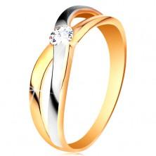 585 arany gyűrű - kerek átlátszó cirkónia, osztott egymást keresztező szárak