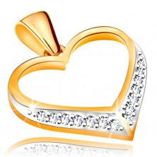 Medál 14K aranyból - szimmetrikus szív körvonala, cirkóniák az alsó részben