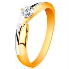 Gyűrű 14K aranyból - kétszínű szárak, csillogó átlátszó cirkónia