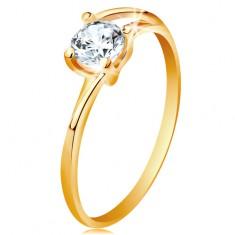 Gyűrű sárga 14K aranyból - vékony osztott szárak, csillogó átlátszó cirkónia