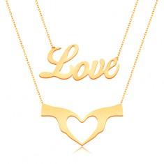 Nyaklánc sárga 9K aranyból - kettős lánc, Love felirat és szívet formáló két kéz