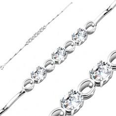 Ródiumozott 925 ezüst karkötő, cirkóniás oválisok átlátszó színben, fényes ovális körvonalak