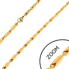 Acél lánc arany színben - szélesebb szögletes elemek görög motívummal, 3 mm