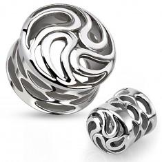 Nyerges fültágító sebészeti acélból ezüst színben, örvény cseppekből, kivágások