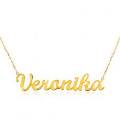 Nyaklánc sárga 14K aranyból - vékony lánc, fényes medál Veronika