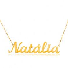 14K arany nyaklánc - vékony lánc ovális szemekből, fényes medál Natália