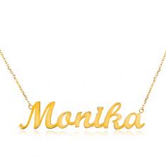 Nyaklánc sárga 585 aranyból - vékony lánc, fényes medál Monika