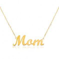 585 arany nyaklánc Mom felirattal, vékony állítható lánc