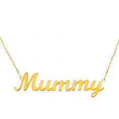 Nyaklánc sárga 14K aranyból - finom lánc, fényes medál - Mummy
