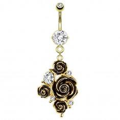 Köldökpiercing 316L acélból arany színben, fekete rózsák és átlátszó cirkóniák