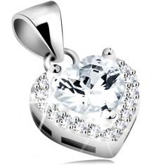 Medál 925 ezüstből, átlátszó cirkóniás szív csillogó körvonallal