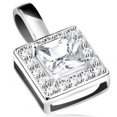 Medál, 925 ezüst, csillogó négyzet körvonala, átlátszó csiszolt cirkónia középen