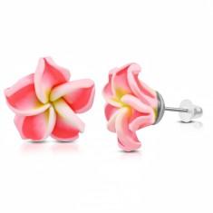 FIMO fülbevaló, virág sárga középpel és neon rózsaszín szirmokkal