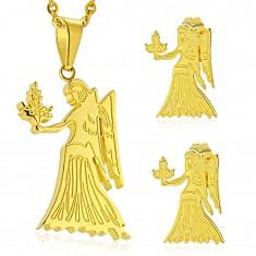 Szett sebészeti acélból arany színben, medál és fülbevaló, SZŰZ csillagjegy